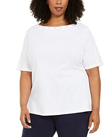 Plus Size Studded Elbow-Sleeve Top, Created for Macy's