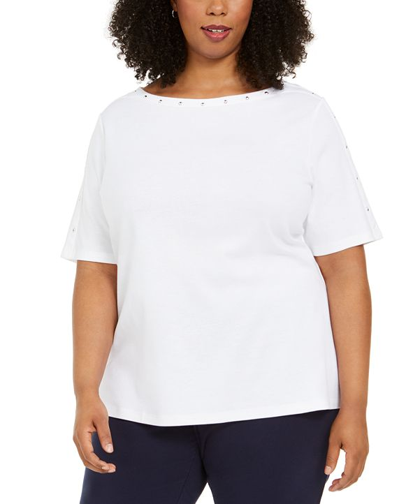 Karen Scott Plus Size Studded Elbow-Sleeve Top, Created for Macy's