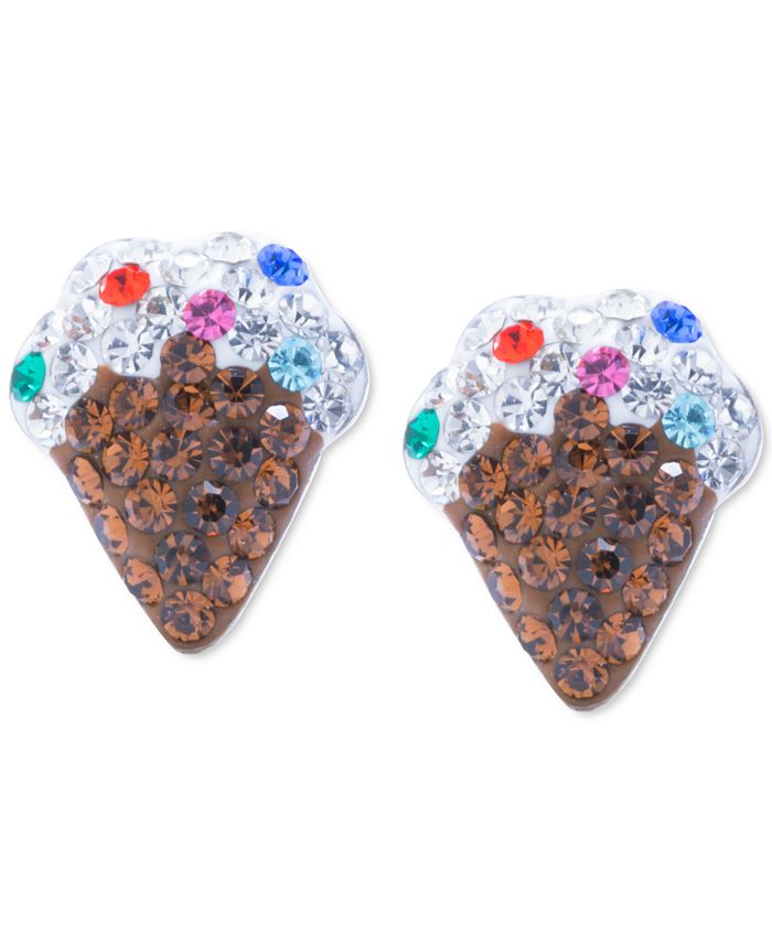 Giani Bernini - Crystal Ice Cream Cone Stud Earrings in Sterling Silver