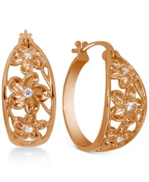 Small Cubic Zirconia Openwork Flower Hoop Earrings in Rose Gold-Plate