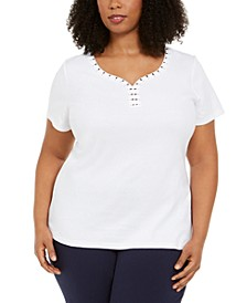 Plus Size Studded Y-Neck Top, Created for Macy's