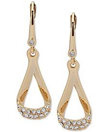 Gold-Tone Pavé Loop Drop Earrings