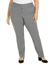Plus Size Gingham Slim-Fit Pants, Created for Macy's