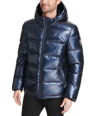 타미 힐피거 맨 숏패딩 Tommy Hilfiger Mens Pearlized Performance Hooded Puffer Coat