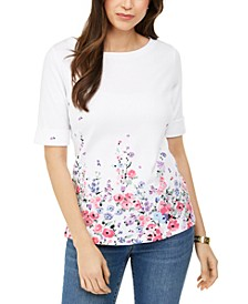Floral-Print Elbow-Sleeve Boat-Neck Top, Created for Macy's