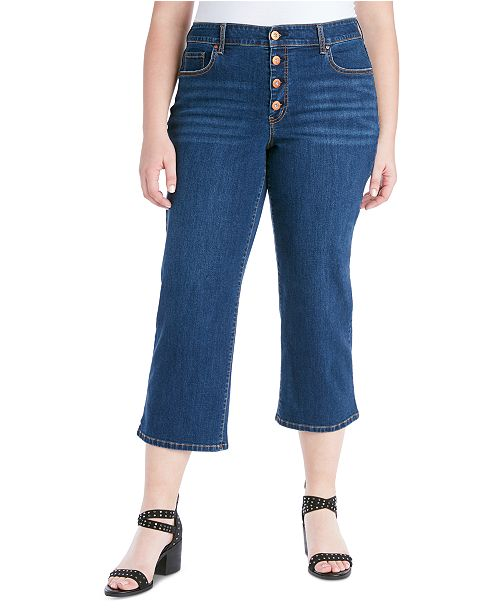 Jessica Simpson Trendy Plus Size Adored Cropped Wide-Leg Jeans