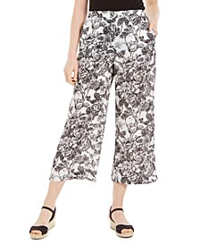 Petite Floral-Print Cropped Pants, Created for Macy's