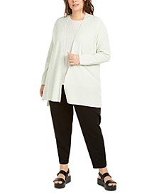 Plus Size Long Open-Front Cardigan