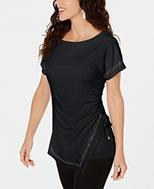 Petite Studded Drawstring Top, Created for Macy's