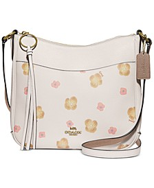Chaise Pansy Print Leather Crossbody