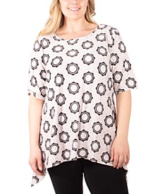 Plus Size Puff-Print Sharkbite T-Shirt