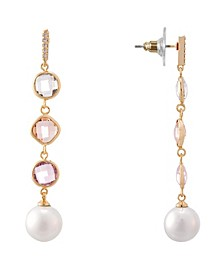 Bezel Station and Pearl Linear Earring