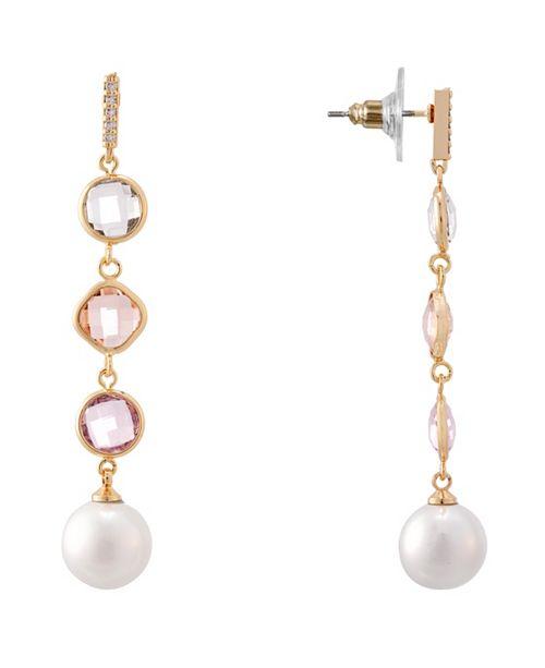 Nina Bezel Station and Pearl Linear Earring