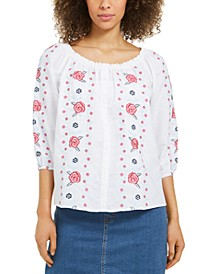Linen Embroidered-Front Blouse, Created for Macy's