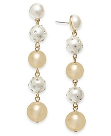 INC Gold-Tone Pavé & Imitation Pearl Linear Drop Earrings, Created for Macy's