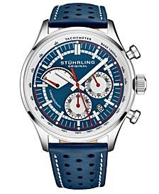 Men's Blue Leather Strap Watch 42mm