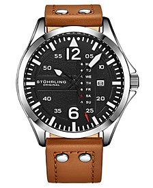 Men's Tan Leather Strap Watch 51mm