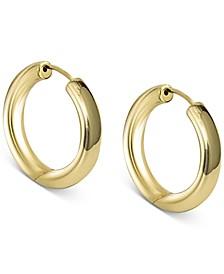"""Medium Seamless Hoop Earrings in 18k Gold-Plated Sterling Silver, 1.5"""""""