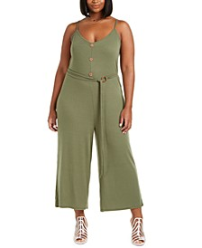 Trendy Plus Size Ribbed Belted Jumpsuit