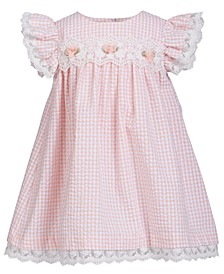 Baby Girls Lace-Trim Gingham Seersucker Dress