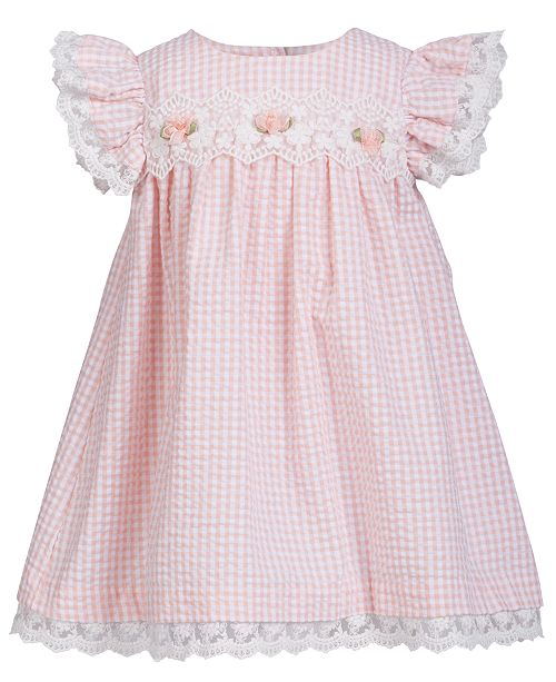 Bonnie Baby Baby Girls Lace-Trim Gingham Seersucker Dress