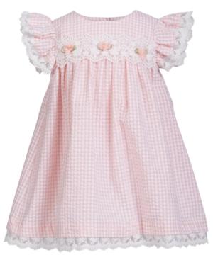 Bonnie Baby Baby Girls Lace-Trim Gingham Seersucker Dress