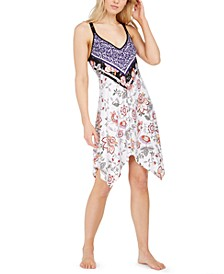 Mixed-Print Chemise Nightgown