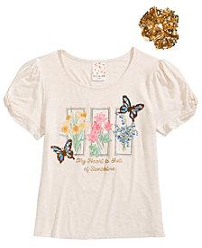 Belle du Jour Big Girls Sequin Graphic Top & Scrunchie Set