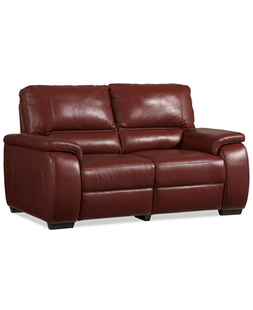 Marchella Leather Dual Power Reclining Loveseat Furniture Macy 39 S
