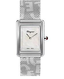 Women's Swiss Tank Lady Logo Stainless Steel Mesh Bracelet Watch 24x32mm