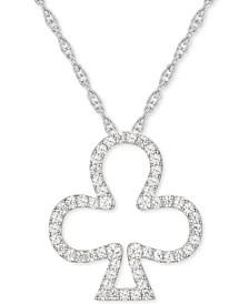 "Diamond Open Clover 18"" Pendant Necklace (1/4 ct. t.w.) in Sterling Silver"