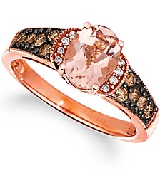 Peach Morganite (7/8 ct. t.w.) & Diamond (1/4 ct. t.w.) in 14k Rose Gold