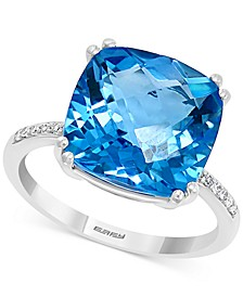 EFFY® Blue Topaz (8-1/3 ct. t.w.) & Diamond (1/20 ct. t.w.) Statement Ring in 14k White Gold