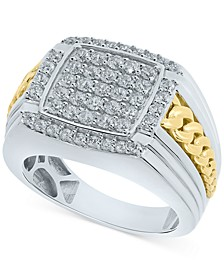 Men's Diamond Cluster Ring (1-1/2 ct. t.w.) in 10K White Gold & Yellow Gold