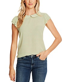 Printed Pleated-Sleeve Top