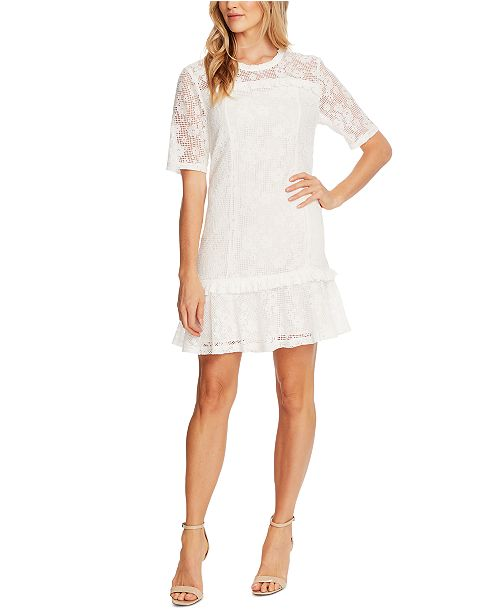 CeCe Mesh Ruffle-Trim Dress