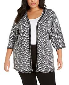 Plus Size Elbow-Sleeve Cardigan