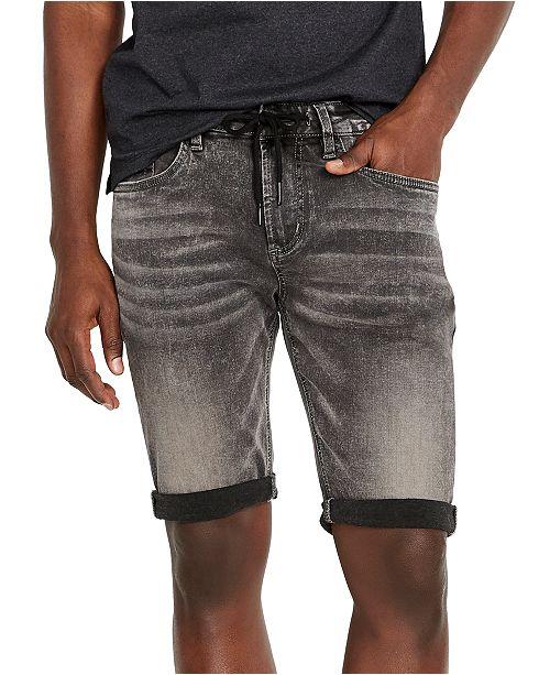 Buffalo David Bitton Men's PARKER-X Slim-Fit Black Acid Wash Denim Shorts