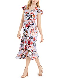 Floral-Print Chiffon Flutter-Sleeve Dress
