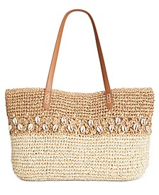 INC Shells & Knots Straw Tote, Created for Macy's