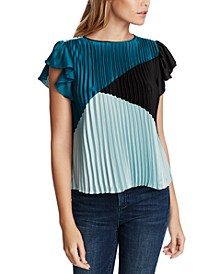 Colorblocked Pleated Flutter-Sleeve Top