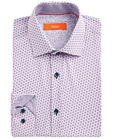 Men's Slim-Fit Performance Stretch White/Purple Floral-Print Dress Shirt