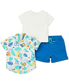 Baby Boys 3-Pc. Cotton Palm-Print Shirt, T-Shirt & Shorts Set
