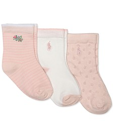 Baby Girls 3-Pk. Floral Bud Crew Socks