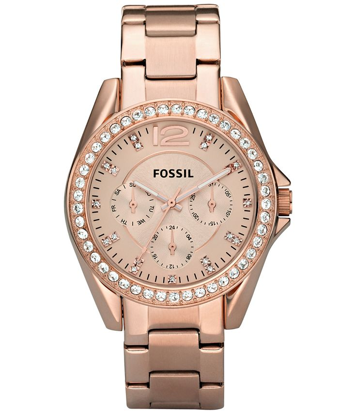 Fossil - Women's Riley Rose Gold Plated Stainless Steel Bracelet Watch 38mm ES2811