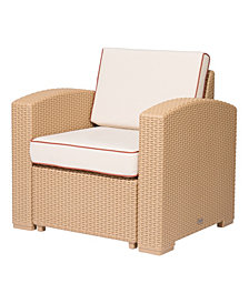 Lagoon Magnolia Rattan Club Chair, White with a Blue Cushion