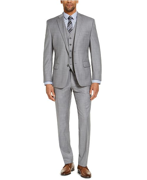 Michael Kors CLOSEOUT! Men's Classic-Fit Airsoft Stretch Gray Solid Suit Separates