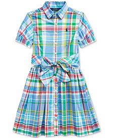 Big Girls Plaid Cotton Poplin Shirtdress, Created For Macy's