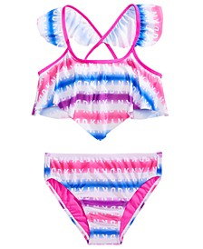 Big Girls 2-Pc. Rainbow Stripe Logo-Print Bikini
