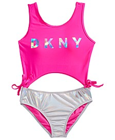 Big Girls 1-Pc. Cut Out Two-Tone Swimsuit